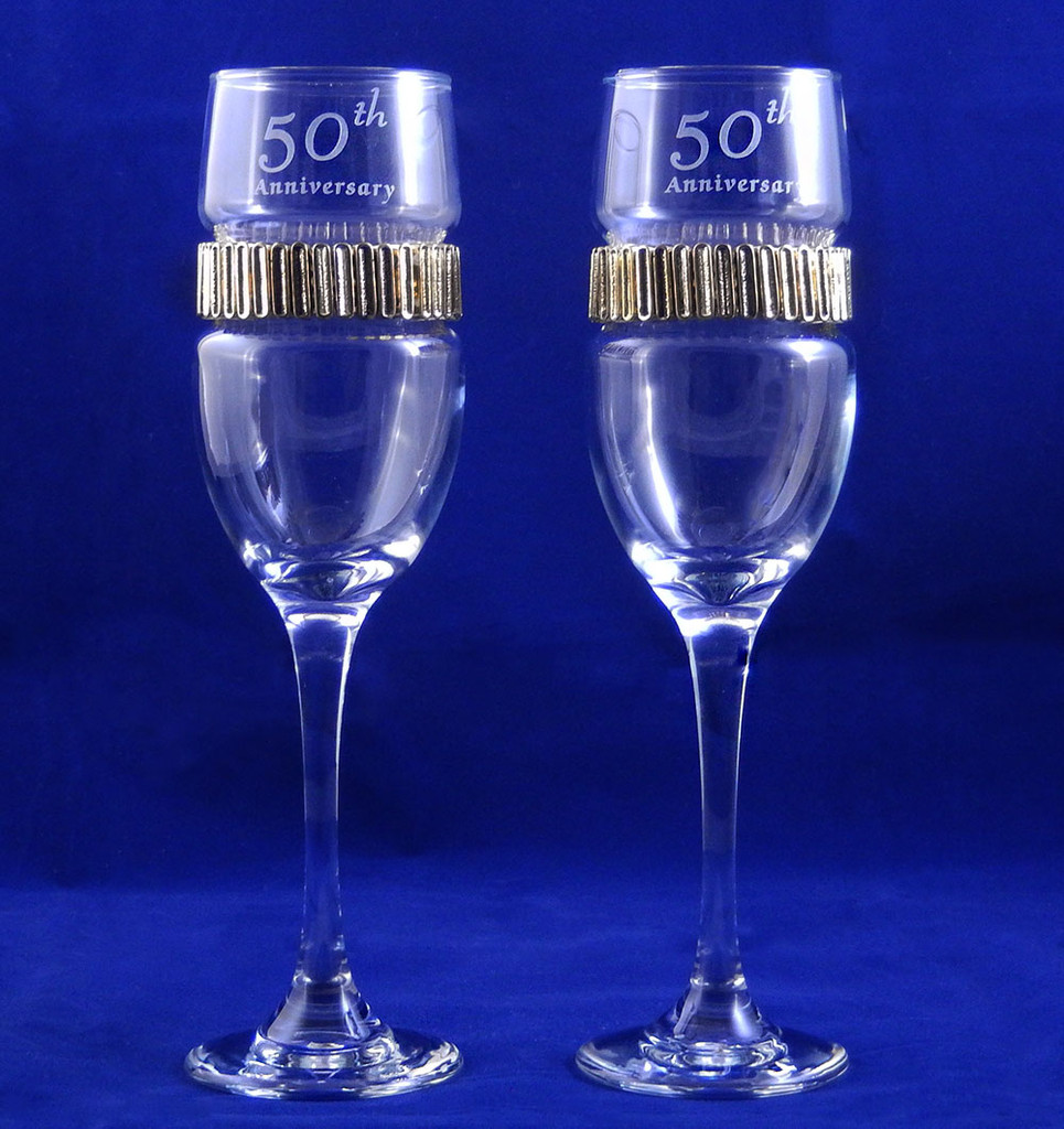 Personalized 50TH Anniversary Flutes with Gold Band