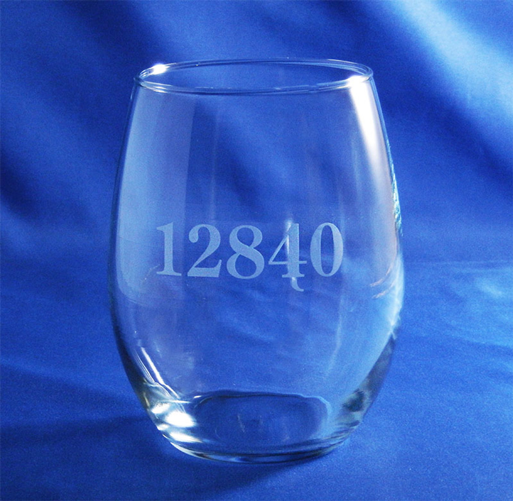 Personalized Zip Code Stemless Wine Glass