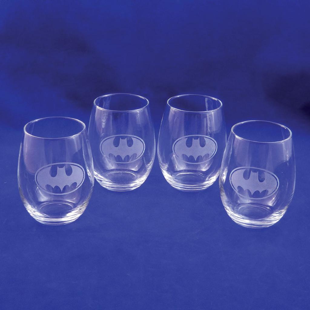 DC Comic's Batman Logo Stemless Wine Glass Set