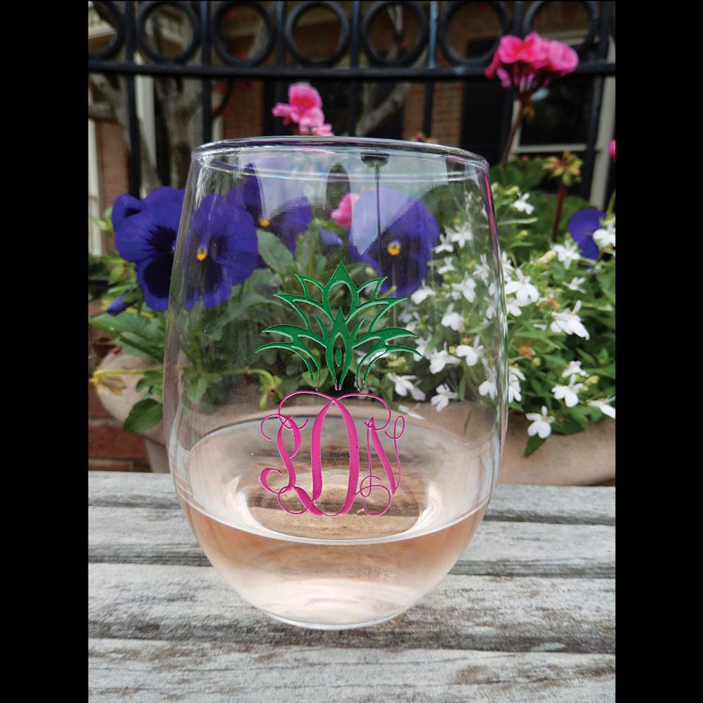 Interlocking Script Monogram Pineapple Stemless Wine Glass