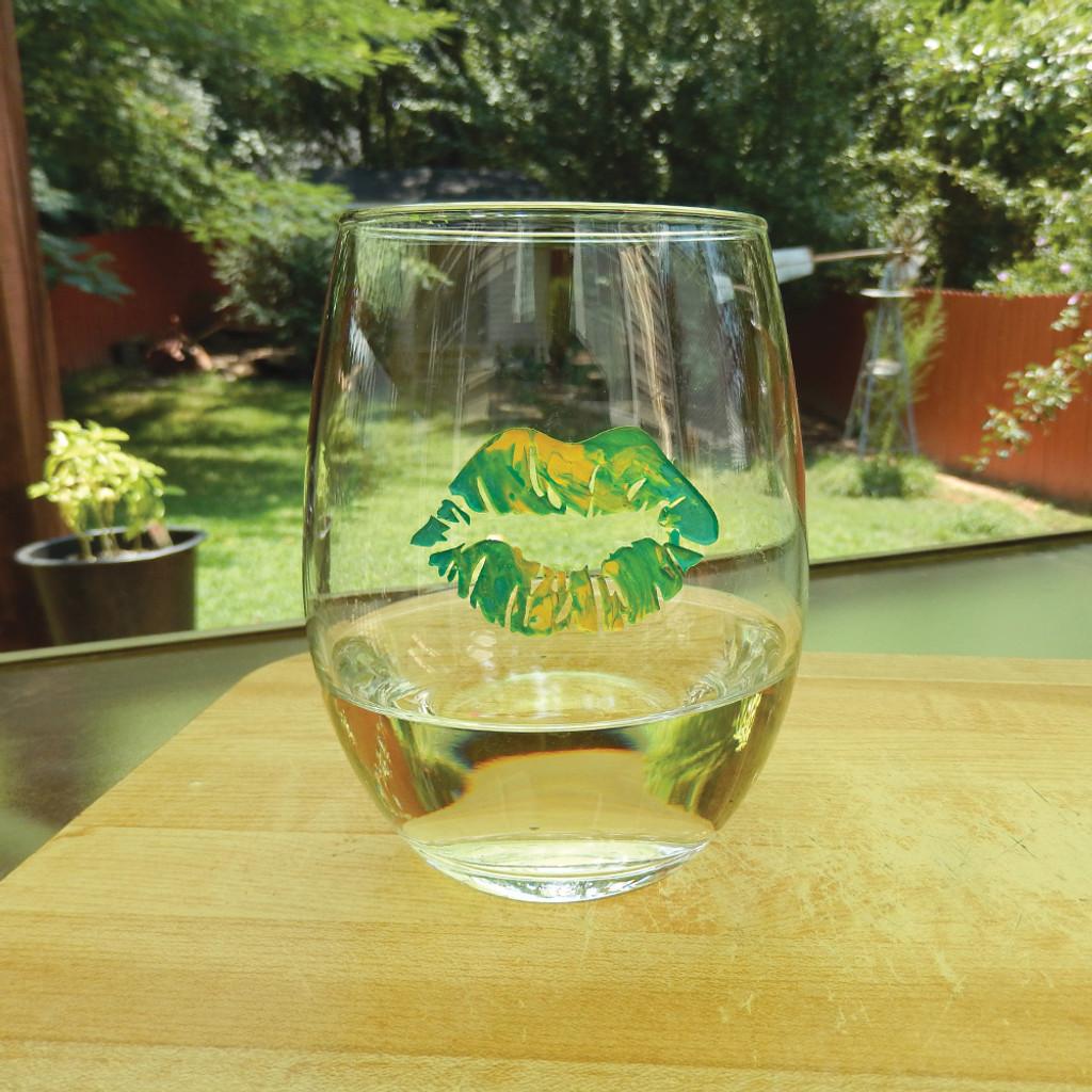 Green Tie Dye Lip Design Stemless Wine Glass