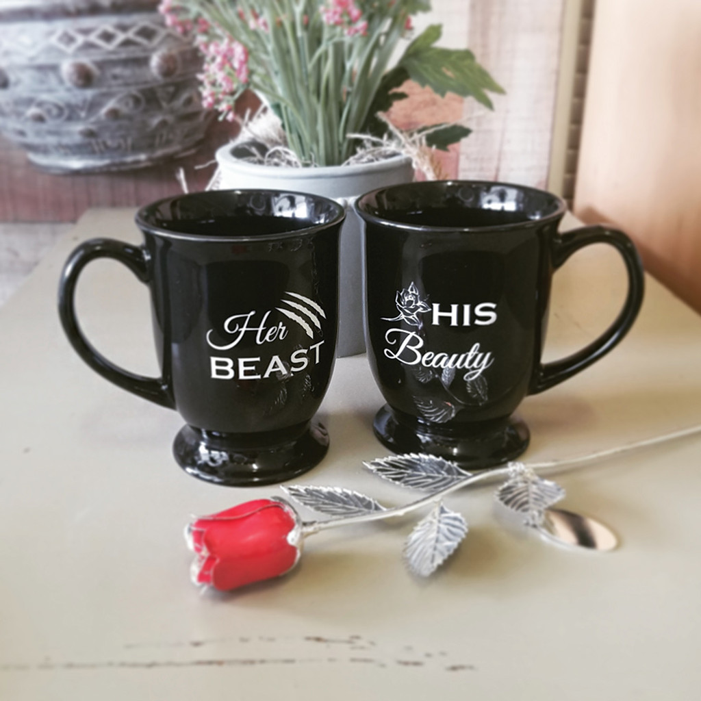 Personalized His and Hers Beauty & The Beast Coffee Mug Set