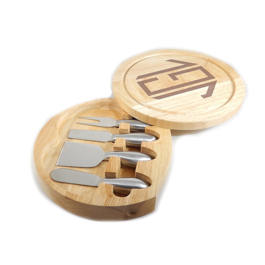 Personalized Round Wooden Cheese Board Set with 4 Utensils