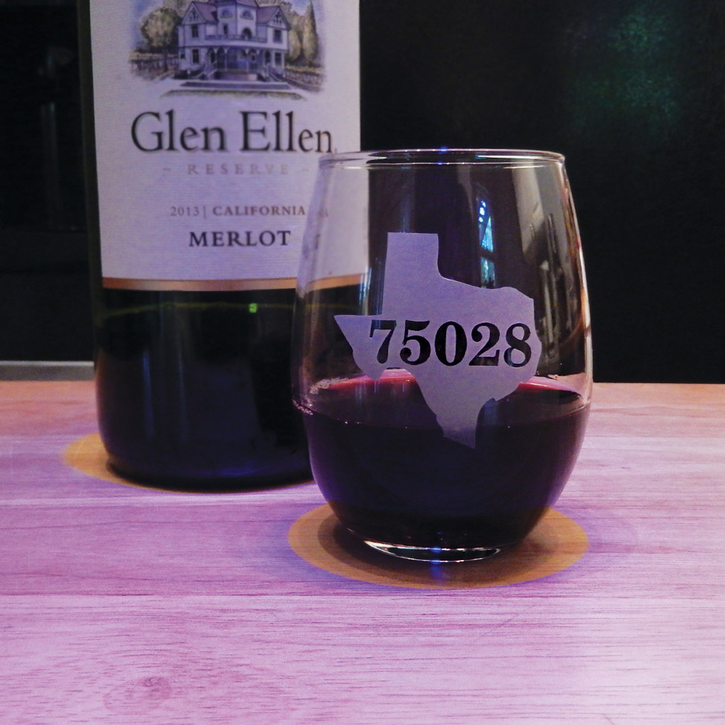 Personalized State & Zipcode Stemless Wine Glass