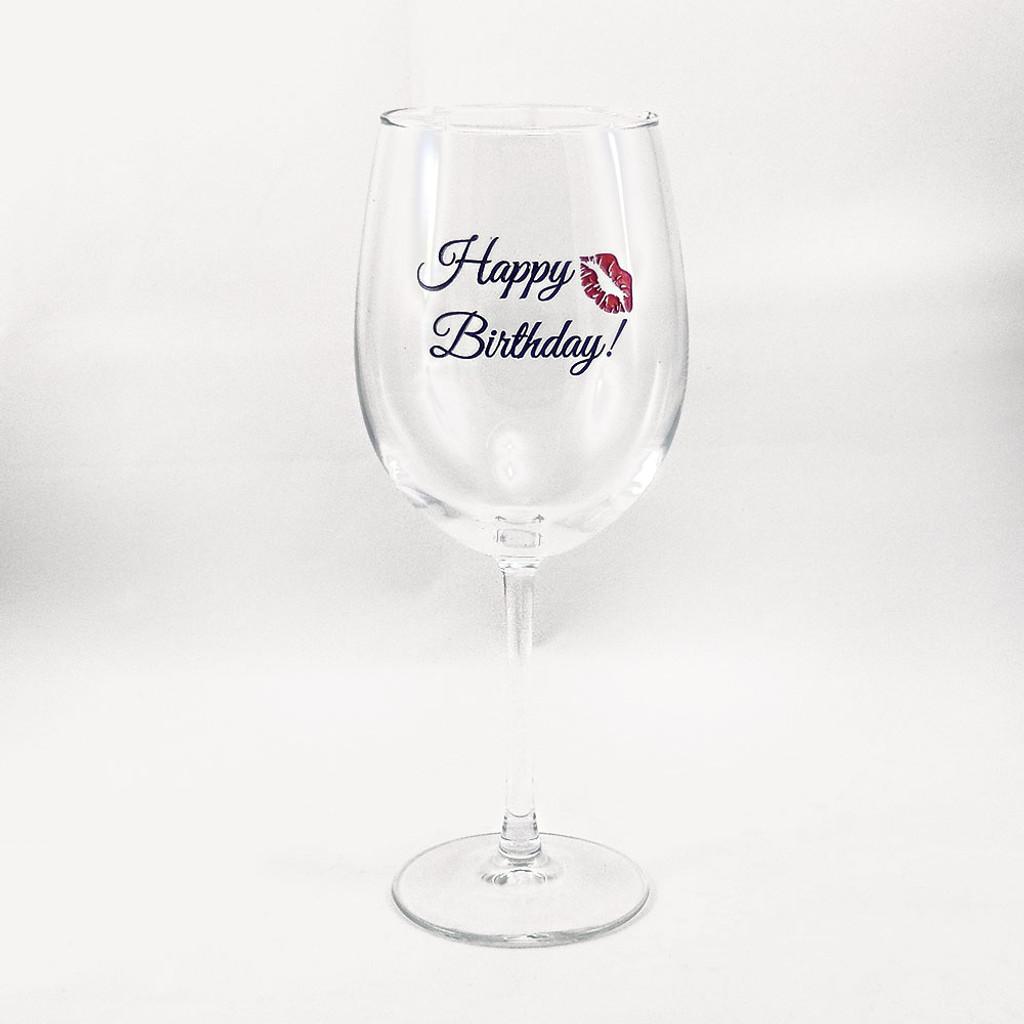 happy birthday wine glass with a kiss - Happy Birthday Wine Glass