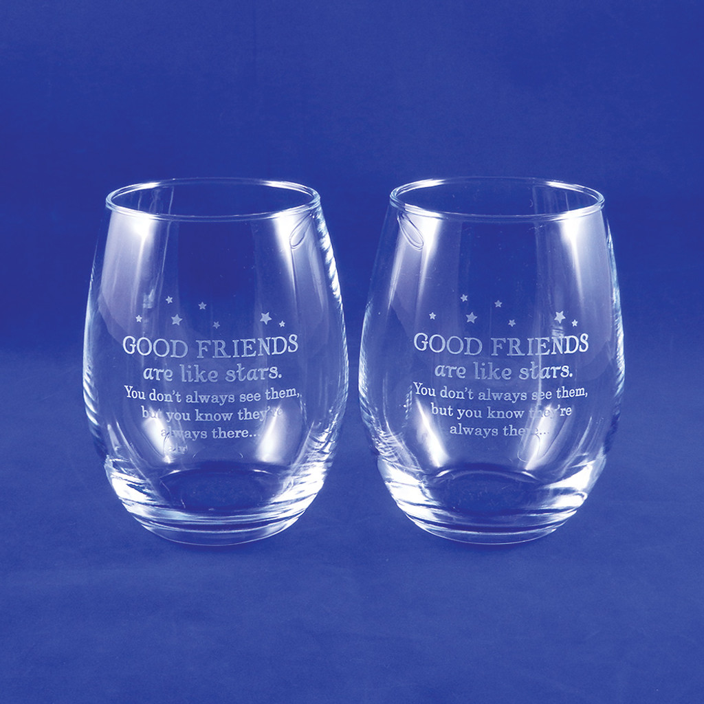 Good Friends Stemless Wine Glass Pair