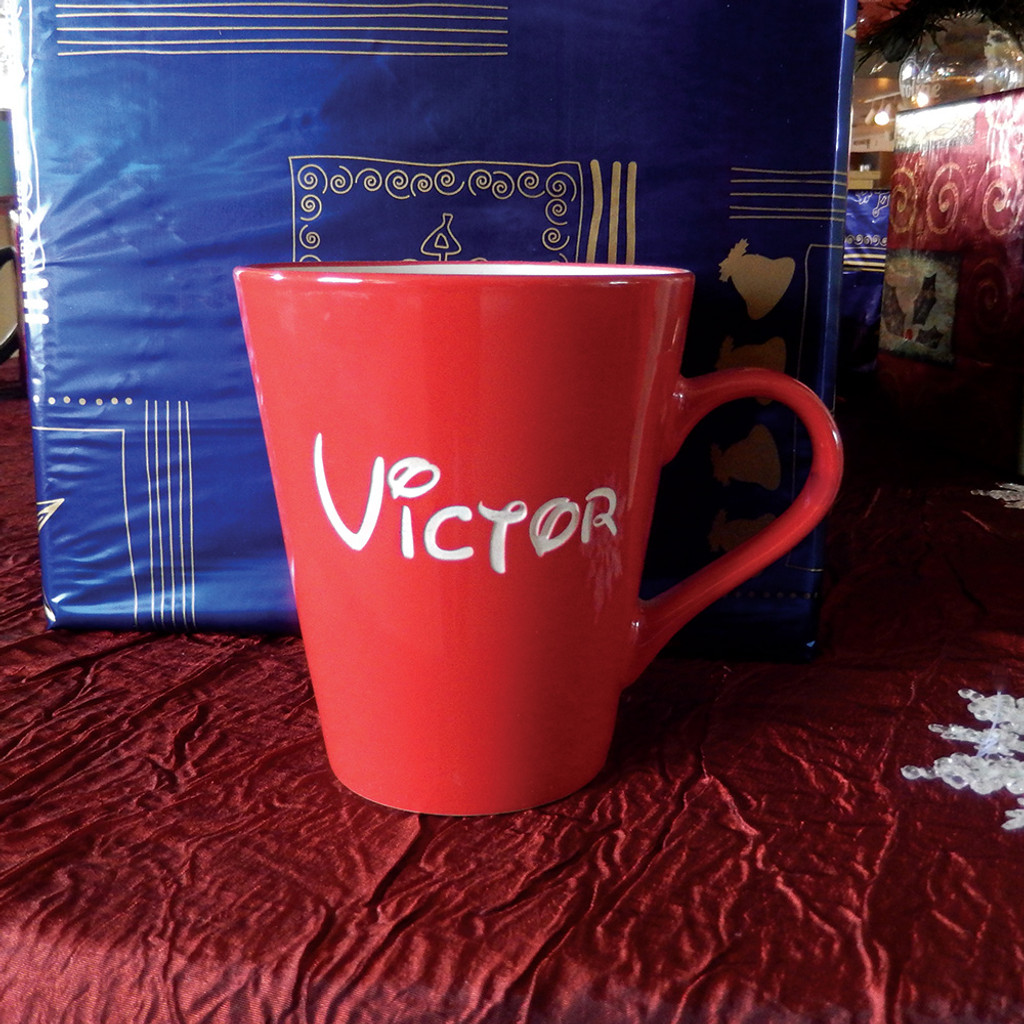 Personalized Short Red Funnel Mug