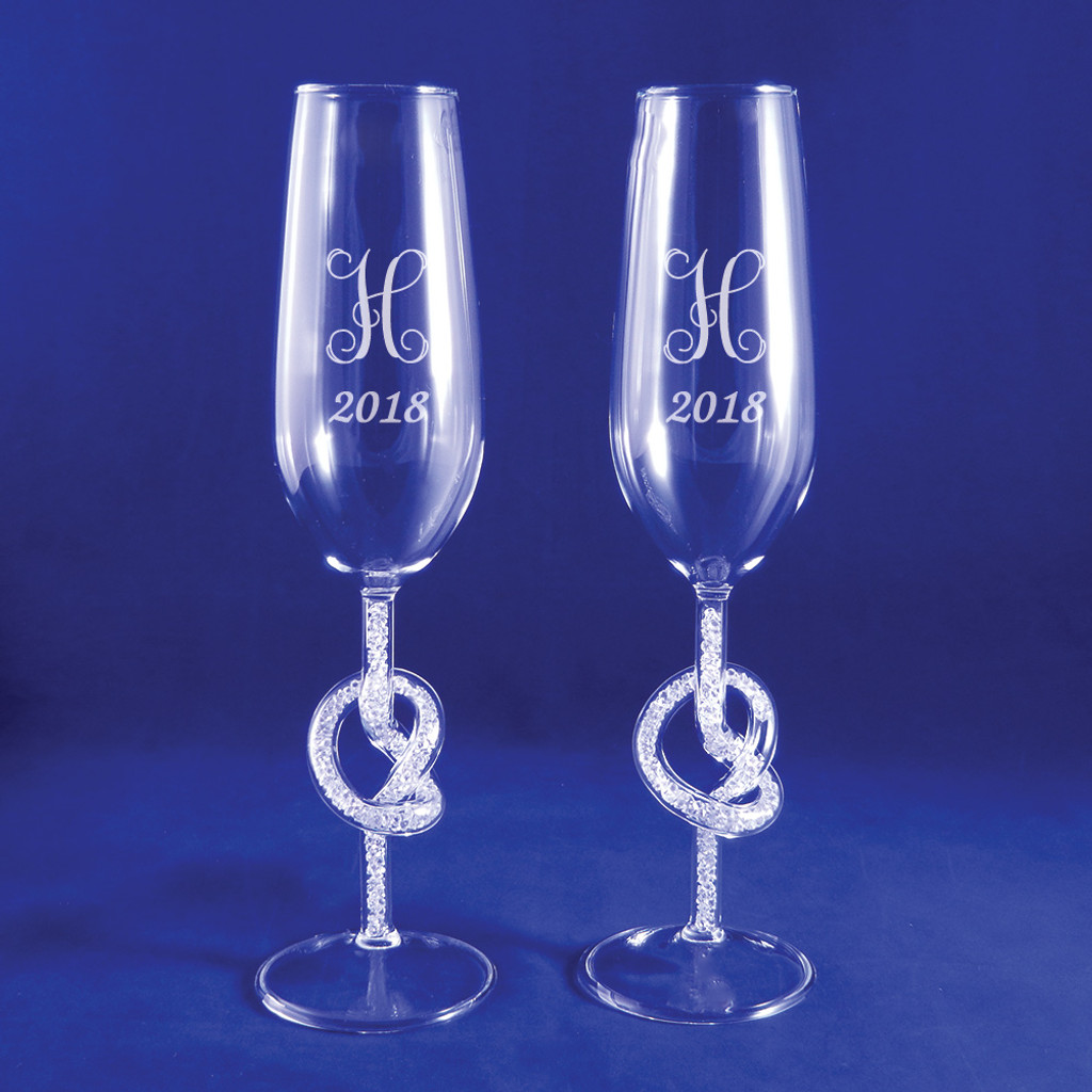 Personalized Diamond Cluster Knot Flute Pair