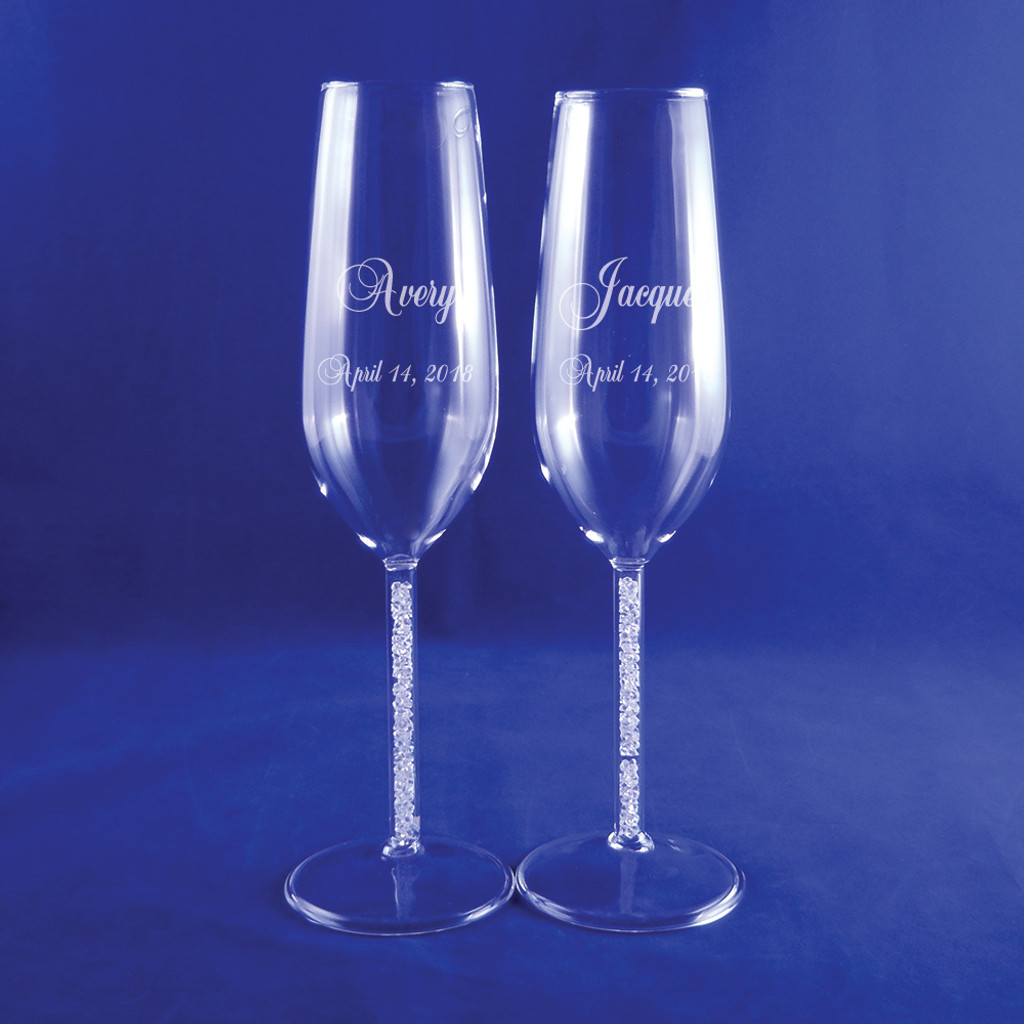 Personalized Diamond Cluster Flute Pair