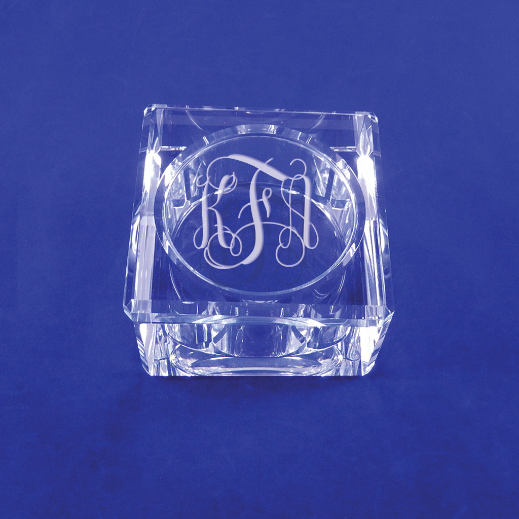 Personalized Square Crystal Jewelry Box by Oleg Cassini