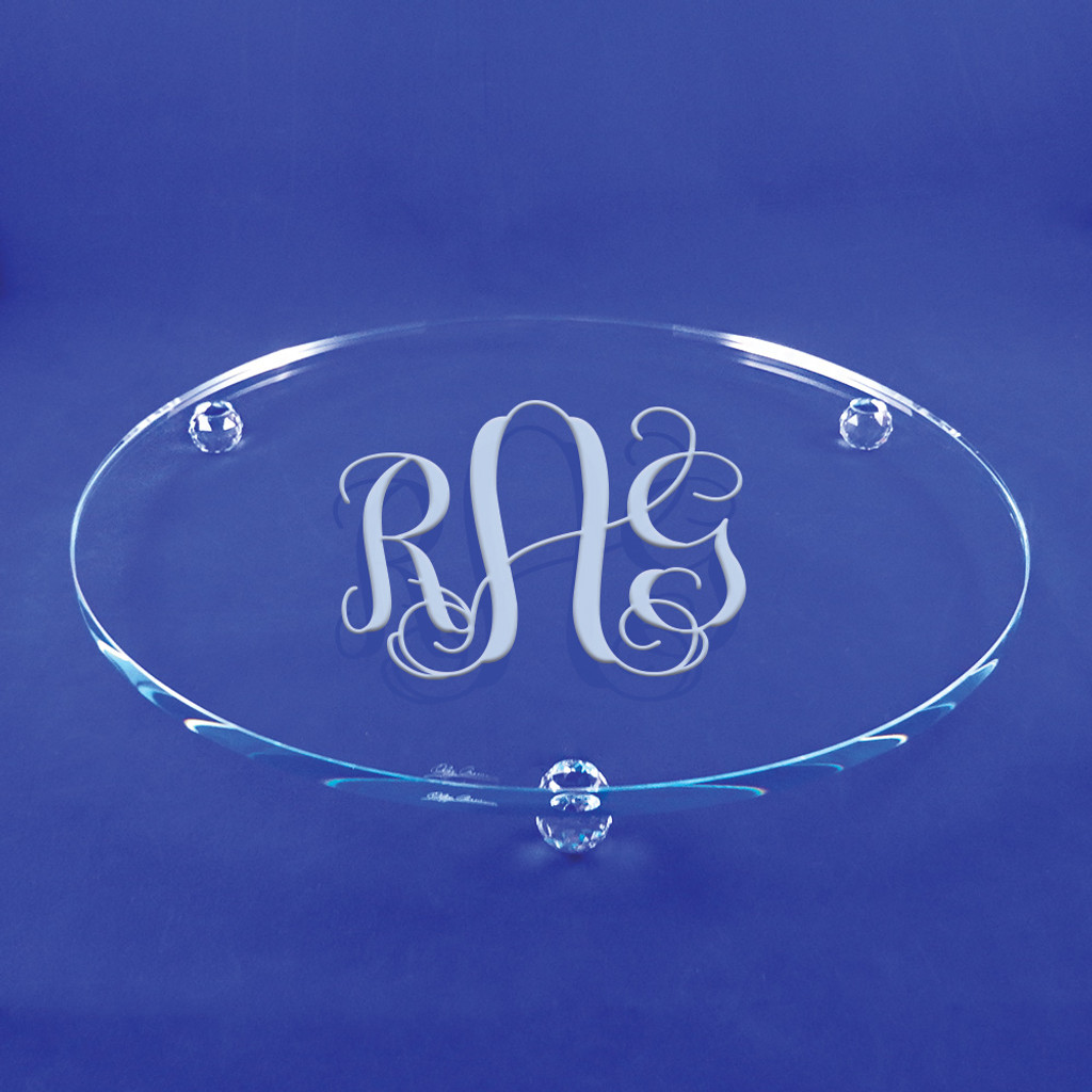 Monogrammed Crystal Footed Cake Plate by Oleg Cassini