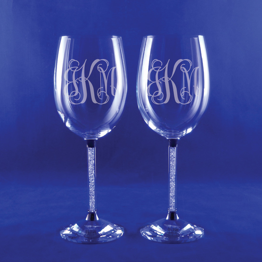 Personalized Clear Diamond Wine Goblets, Set of 2 by Oleg Cassini