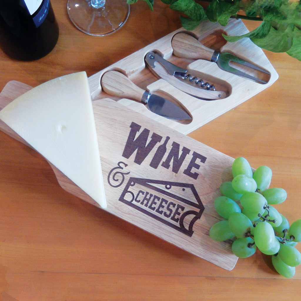 Wine & Cheese Wooden Cheeseboard Set