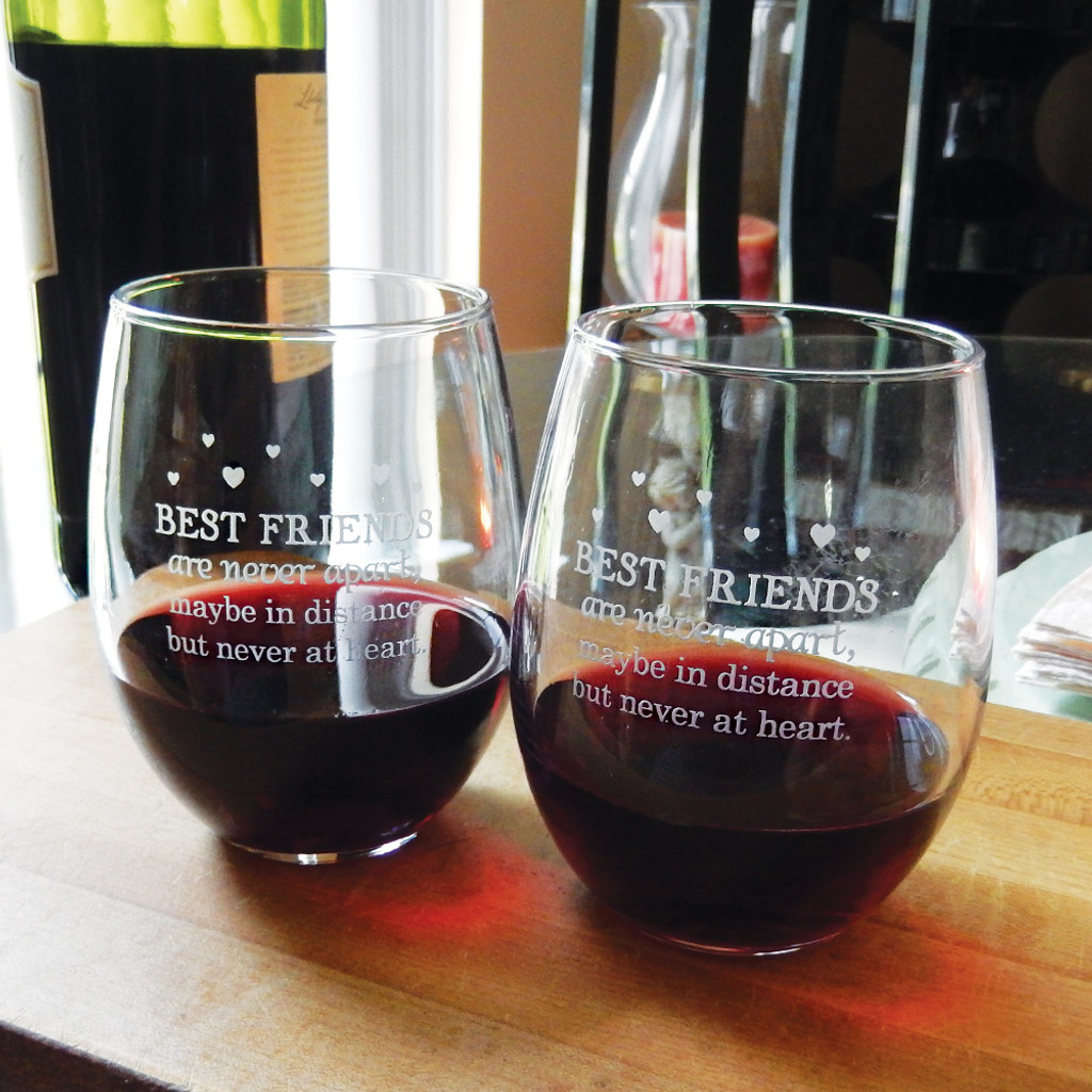Best Friends Saying Stemless Wine Glass Pair