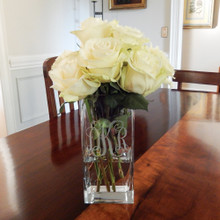 Monogrammed Square Vase with Roses