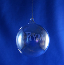 Personalized Hand Engraved 80mm Round Glass Blown Ornament