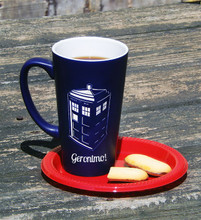 Large Personalized Dr.Who Blue Tardis Funnel Mug
