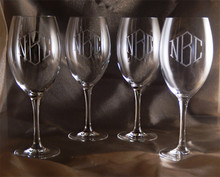 Monogrammed Finesse White Crystal Wine Glasses