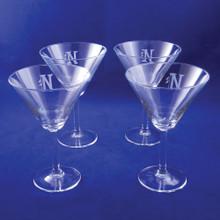 Monogrammed Martini Glasses, Set of 4