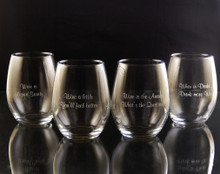 Wineisms Stemless White Wine Glass Set