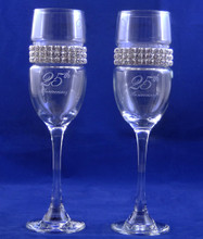 Personalized 25TH Anniversary Flutes with Jeweled Band
