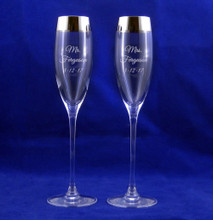 Personalized Crystal Timeless Silver Champagne Flute Pair by Lenox