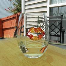 Orange Tie Dye Lips Stemless Wine Glass