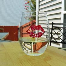 Pink Tie Dye Lips Stemless Wine Glass