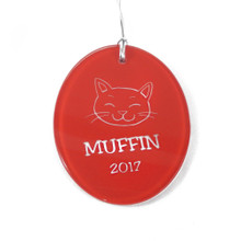 Personalized Red Oval Cat Ornament