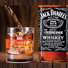 Birthday Month King DOF Glass with Whiskey