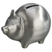 Monogrammed Pewter Piggy Bank