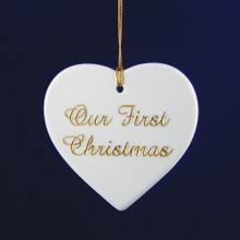 Personalized Porcelain Flat Heart Ornament