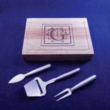 Monogrammed Cheeseboard with Stainless Steel Utensils