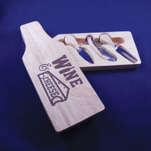 Wooden Bottle Shaped Cheese Board Set with Wine & Cheese Design