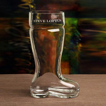 1.0 L Beer Boot Mouthblown with Text Engraving (Rounded Toe)   The Crystal Shoppe