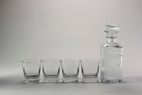 monogrammed fusion whiskey crystal decanter set