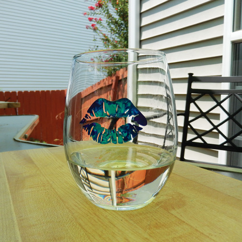 Blue Tie Dye Lips Stemless Wine Glass