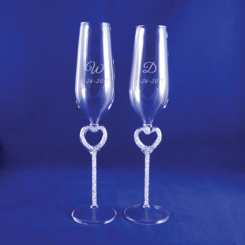 Personalized Diamond Cluster Heart Flutes