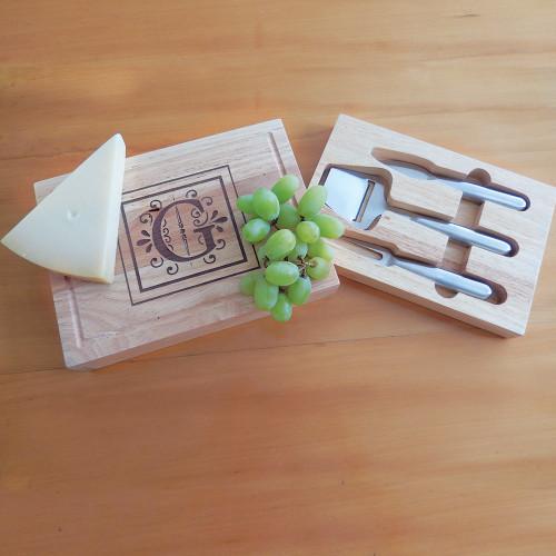 Personalized Rectangular Wooden Cheeseboard Set
