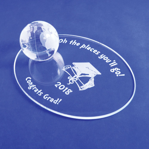 Personalized Graduation Gift - Crystal Globe on Oval Base