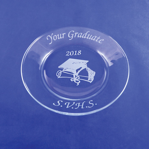Personalized Graduation Plate with Cap and Diploma Design