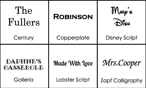 Personalized Cassrole DIsh Font Choices