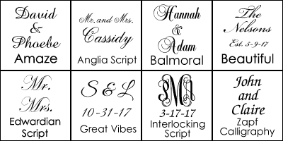 Font Choices for Personalized Champagne Flutes