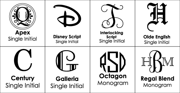 Font Choices for Monogrammed Carafes & Decanters