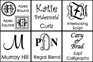 Font Choices for Personalized Bowls