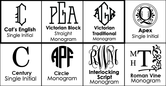 Monogram Options for Personalized Wine Glasses