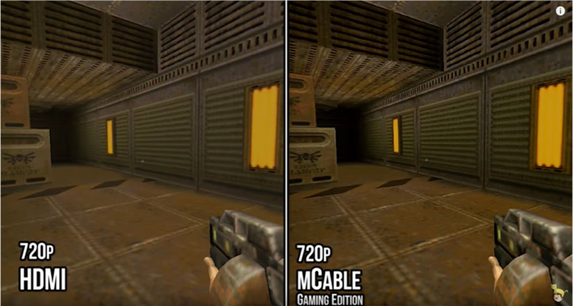 comparison of 720p HDMI vs 720p mCable