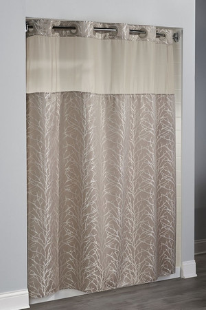 """The Tree Branch Hookless shower curtain features a contemporary, overlapping tree branch pattern on a taupe background; with a sheer, translucent window across the top to let light in and maintain privacy. 100% Polyester fabric with coordinating sheer fabric window Replaceable, water repellent snap-in liner resists soap scum and minimizes mold and mildew Matching raised Flex-On rings allow 10 second installation without removing the shower rod 71 by 77 inches Available in taupe  Call 855-468-3528 or click here to email us about large quantity purchases.   Available in different styles to complement any decor, the Hookless® shower curtain is not only handsome - it's also extra durable because it's made for hotels. It installs in seconds and operates smoothly without tugging or snagging. This curtain """"stacks"""" beautifully for a neat appearance when pushed to the side.  The Tree Branch Hookless® shower curtain with """"It's A Snap""""™ liner works with any shower rod, but combine it with The Arc ™ curved shower rod for an elegant upgrade."""