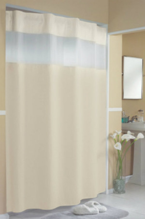 "Available in different styles to complement any decor, the Pique Waffle Hookless® Shower Curtain  is not only handsome - it's also extra durable because it's made for hotels. It installs in seconds and operates smoothly without tugging or snagging. This curtain ""stacks"" beautifully for a neat appearance when pushed to the side. The Pique Waffle Hookless® shower curtain with ""It's A Snap""™ liner works with any shower rod, but combine it with The Arc ™ for an elegant upgrade. The Pique Waffle Hookless® Shower Curtain a textured waffle weave constructed of 100% polyester with our patented time saving Flex-On® rings concealed in a fabric header for a sleek appearance.  Brushed Stainless ring construction Handsome pique waffle pattern Polyester cloth fabric with sheer cloth top panel Water repellent snap-in liner with heavy duty snaps Treated liner resists soap scum, minimizes mold and mildew Special flap design to prevent leakage Washable and dryable 71 by 77 inches Available in white  Call 855-468-3528 or click here to email us about large quantity purchases."