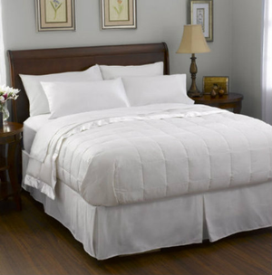"Experience this luxurious, soft down blanket on its own, with a comforter, or even as a duvet insert. The luxury of down in a light weight blanket is filled with just the right amount of luxurious, fluffy down for light warmth comfort. The sewn-through box design prevents shifting. The Level A Luxury Down Blanket features a 230 thread count cover and no less than 75% down fill, 7-inch box construction and corded edges, it comes in a handy zippered storage bag. Highly Machine Washable.    30 thread count, 100% cotton Barrier Weave™ fabric  550 fill power Pacific Coast® down 7"" sewn-through box design Light warmth Highly Machine Washable    -Twin - 66"" x 96"" -Full - 80"" x 96"" -Queen - 90"" x 96"" -King - 108"" x 96""     Call 855-468-3528 or click here to email us about large quantity purchases.     (Note: The digital images we display have the most accurate color possible. However, due to differences in computer monitors, we cannot be responsible for variations in color between the actual product and your screen.)"